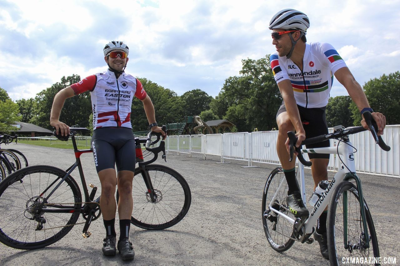 Pan-Am rivals Michael van den Ham and Curtis White chat before riding the course. 2019 Rochester Cyclocross Friday Pre-Ride. © Z. Schuster / Cyclocross Magazine