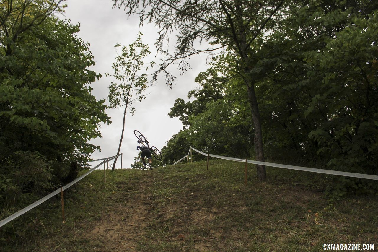 A rider scrambles up the steep run-up down by the historic Erie Canal. 2019 Rochester Cyclocross Friday Pre-Ride. © Z. Schuster / Cyclocross Magazine
