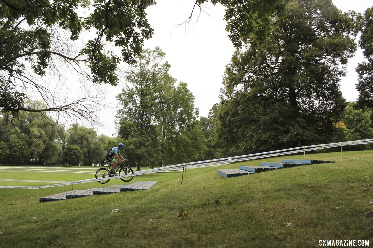 A rider hops up the Belgian staircase. 2019 Rochester Cyclocross Friday Pre-Ride. © Z. Schuster / Cyclocross Magazine