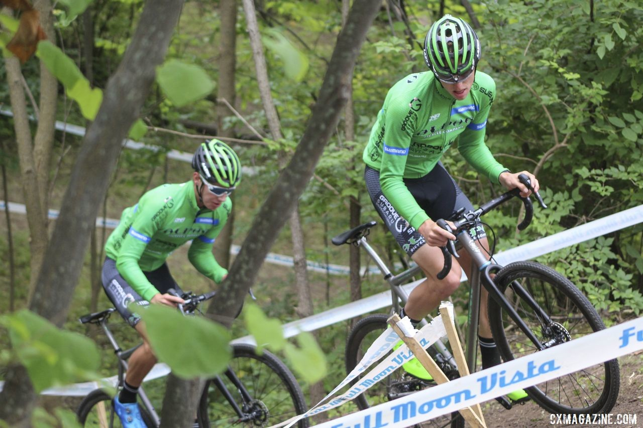 Alpha Bicycle - Groove Subaru riders Brannan Fix and Ross Ellwood blend in with The Jungle during Saturday's pre-ride. 2019 Rochester Cyclocross Day 1, Saturday. © Z. Schuster / Cyclocross Magazine
