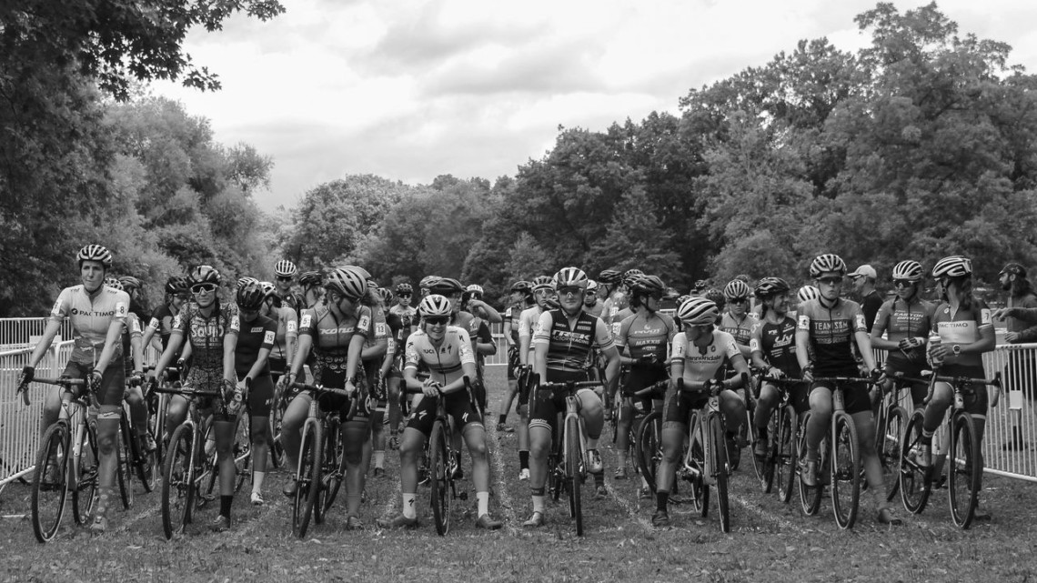 The Elite Women stand ready to start the season's C1 racing on Saturday. 2019 Rochester Cyclocross Day 1, Saturday. © Z. Schuster / Cyclocross Magazine