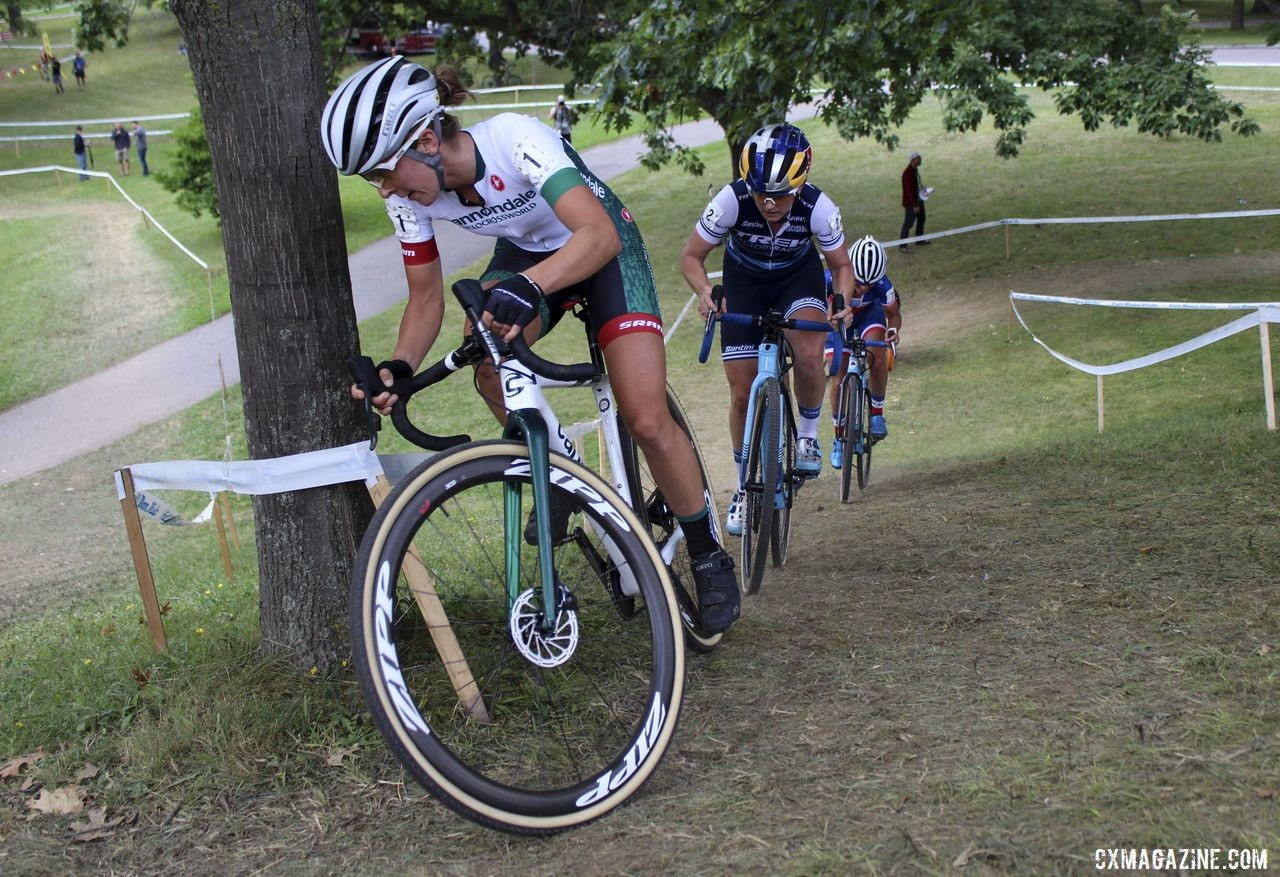 Kaitie Keough peeks around the corner on top of the steep climb before the technical section of the course. 2019 Rochester Cyclocross Day 1, Saturday. © Z. Schuster / Cyclocross Magazine