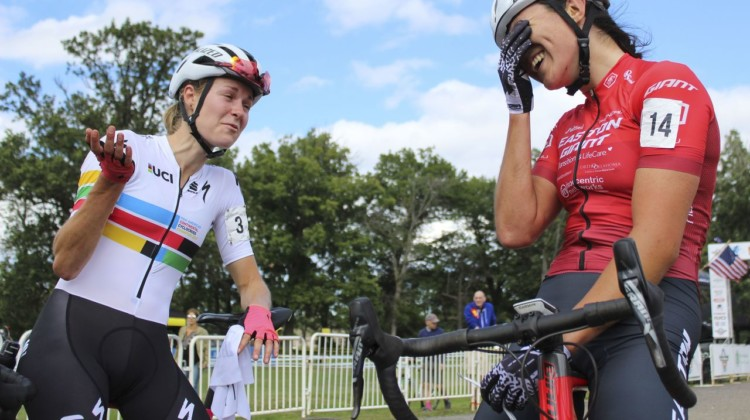 Maghalie Rochette and Jenn Jackson share a joke in Canadian. 2019 Rochester Cyclocross Day 1, Saturday. © Z. Schuster / Cyclocross Magazine