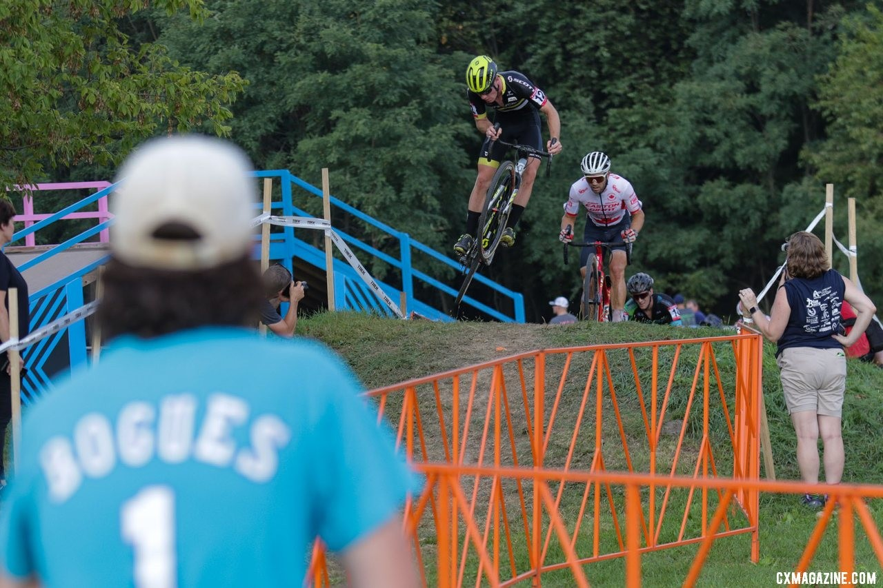Kevin Kuhn sends it over the BMX feature. Elite Men, 2019 Trek CX Cup. © D. Mable / Cyclocross Magazine
