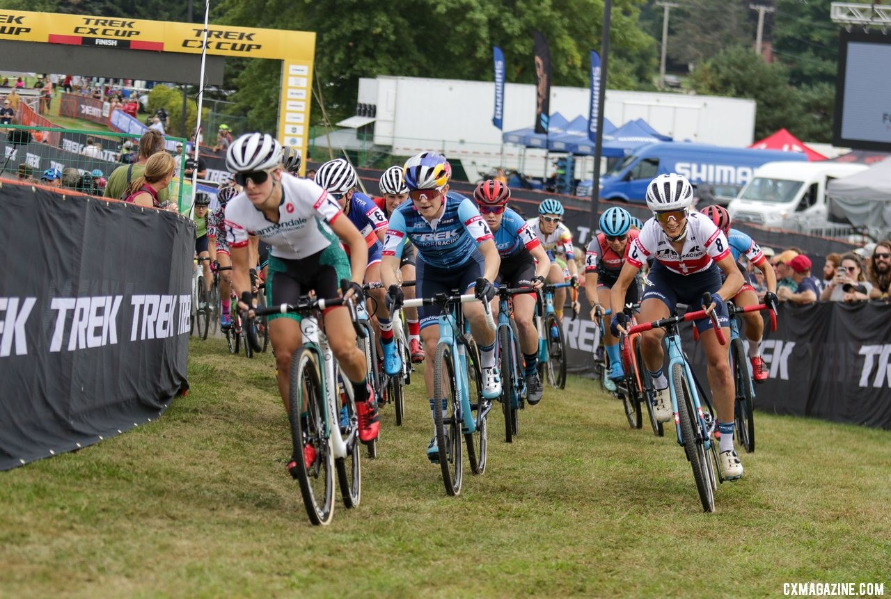 Kaitie Keough raced to the holeshot Friday afternoon. Elite Women, 2019 Trek CX Cup. © D. Mable / Cyclocross Magazine