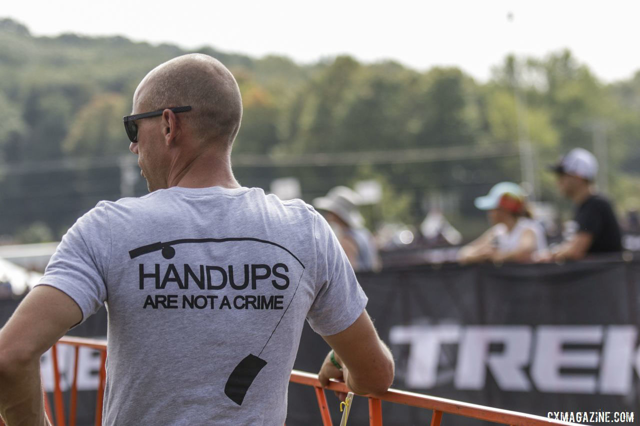 Sven Nys wears his opinions. 2019 Trek CX Cup / World Cup Waterloo Scene. © D. Mable / Cyclocross Magazine