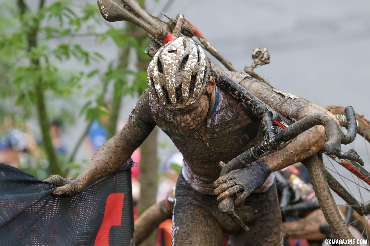 Gianni Vermeersch had another near-podium finish, just as he did in Iowa. 2019 World Cup Waterloo, Elite Men. © D. Mable / Cyclocross Magazine