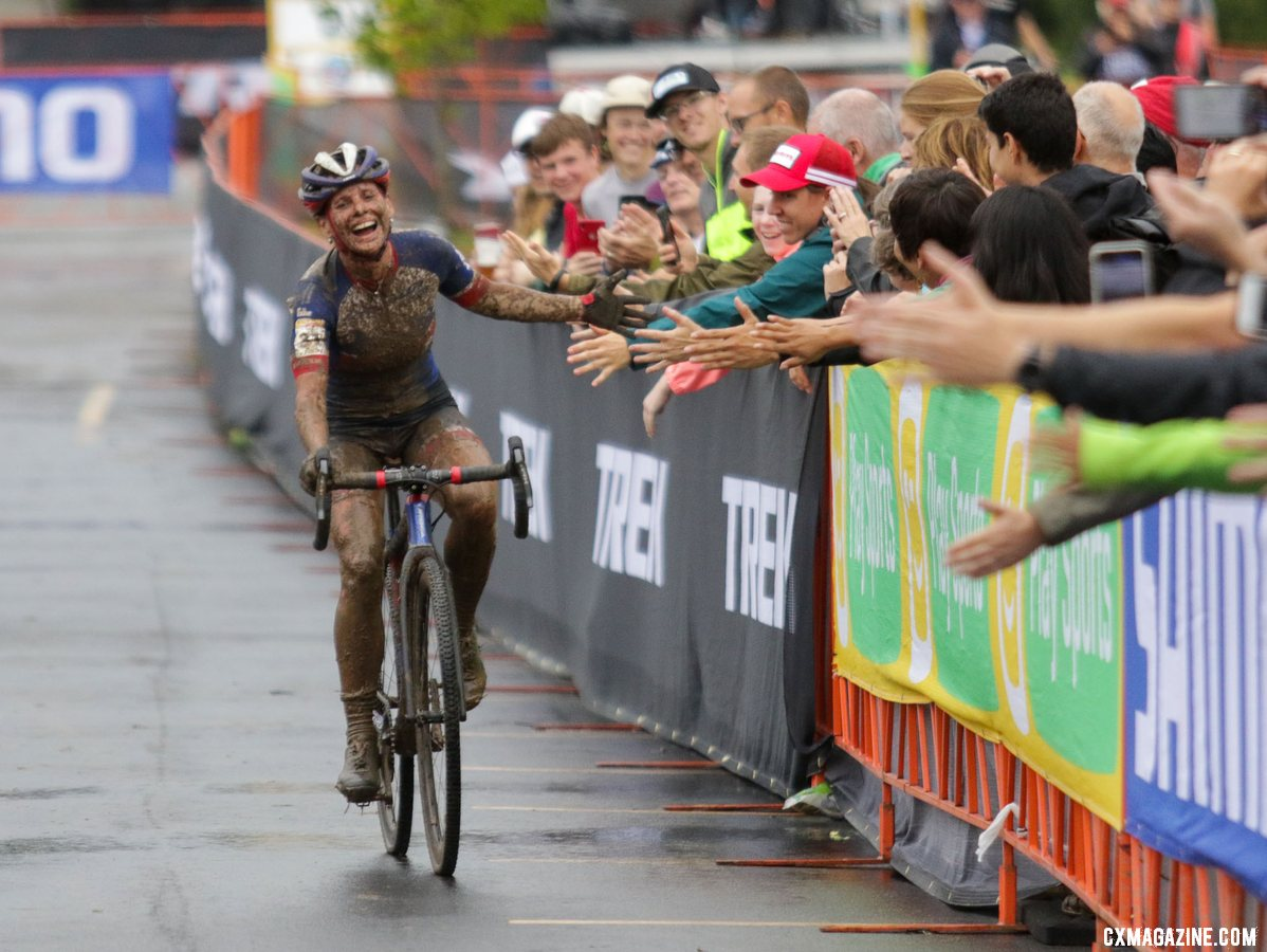 Katerina Nash high fives fans at the finish. 2019 World Cup Waterloo, Elite Women. © D. Mable / Cyclocross Magazine