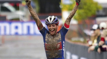 Katerina Nash celebrates her muddy win. Faces of the 2019 Trek CX Cup weekend. © D. Mable / Cyclocross Magazine