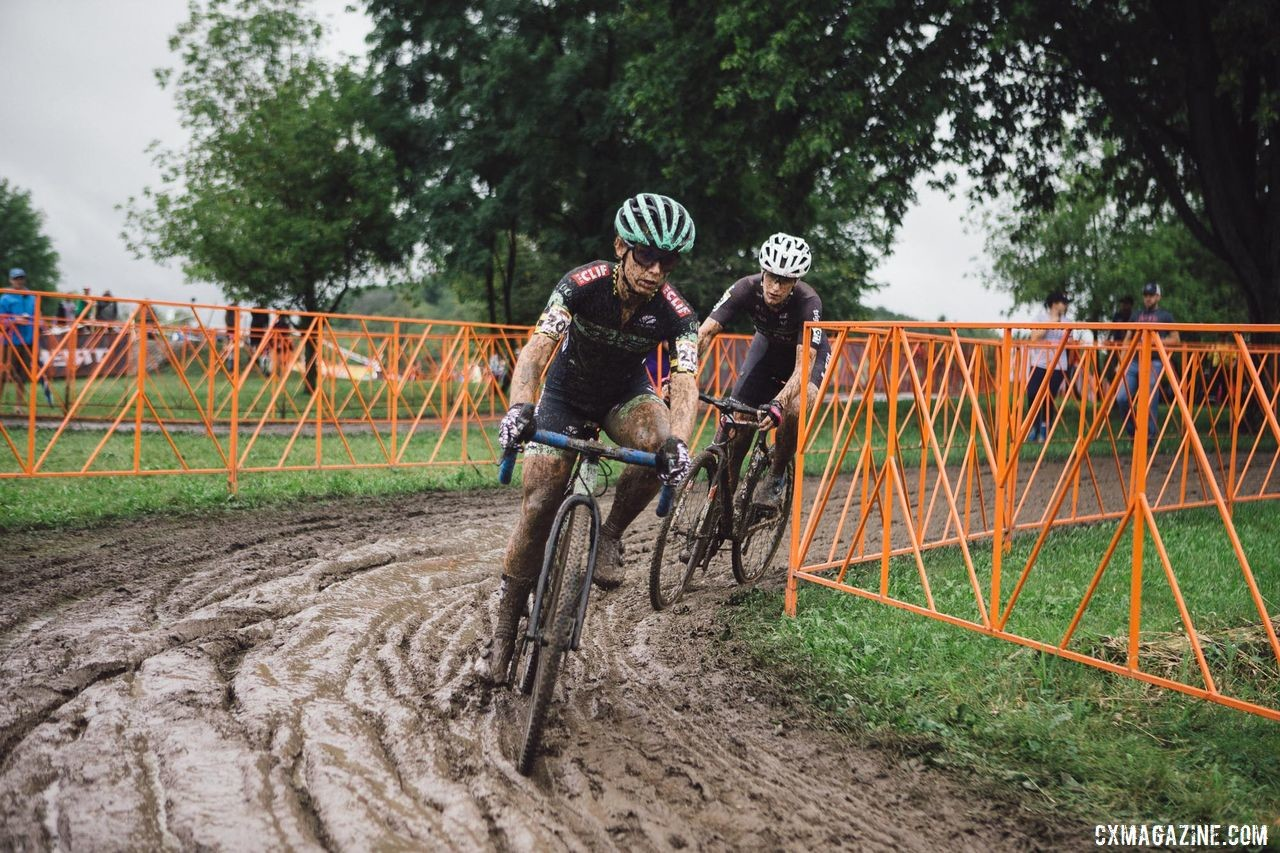 Caroline Nolan looks for traction in the slimy mud. Caroline Nolan World Cup Waterloo Rider Diary. © Balint Hamvas / Cyclephotos