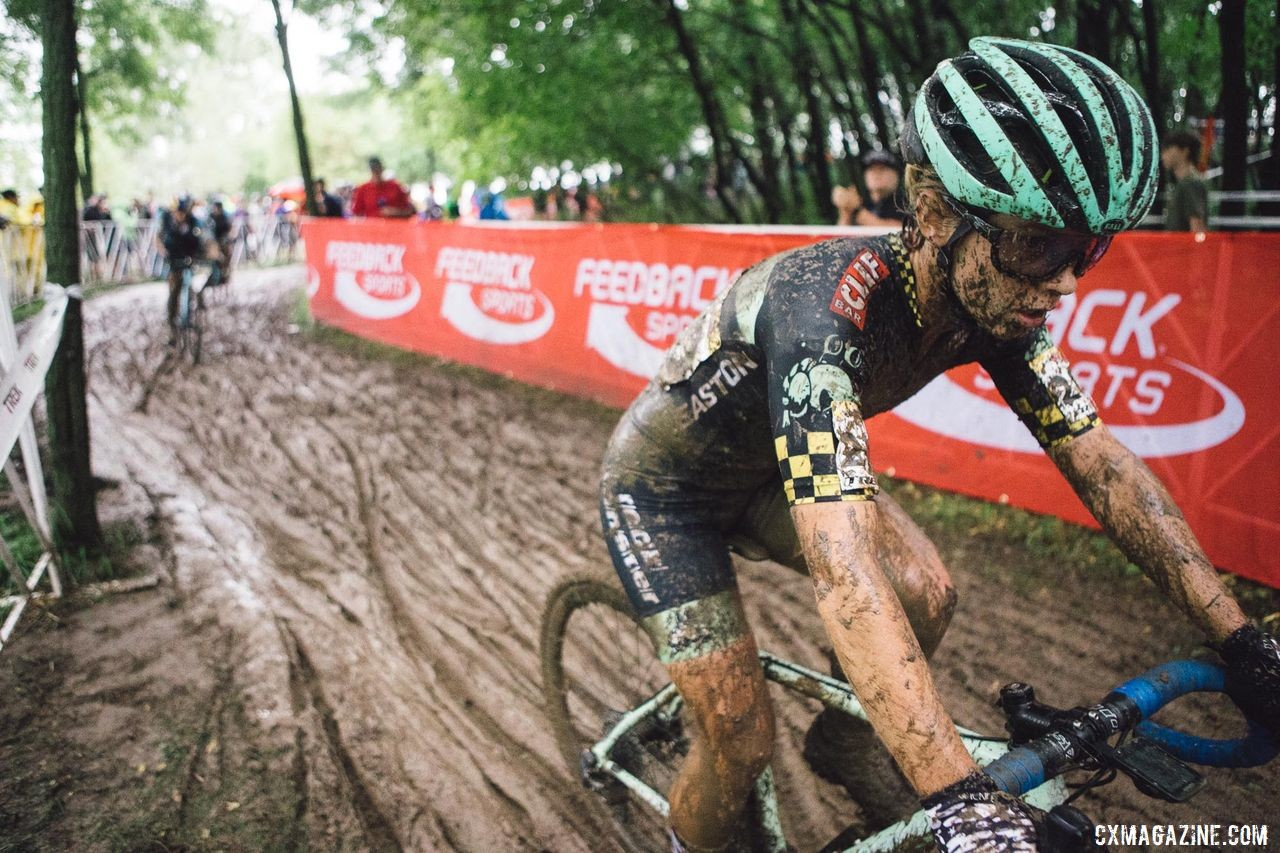 Navigating the Waterloo mud required focus for the full 48 minutes Nolan raced. Caroline Nolan World Cup Waterloo Rider Diary. © Balint Hamvas / Cyclephotos