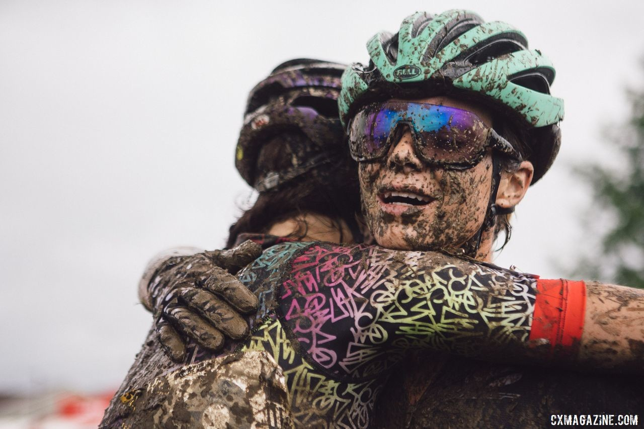 Riders were competitors on the course, but together in what they had gone through off. Caroline Nolan World Cup Waterloo Rider Diary. © Balint Hamvas / Cyclephotos