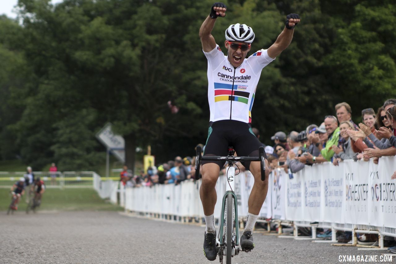 Curtis White celebrates his Day 2 win in Rochester. 2019 Rochester Cyclocross Day 2. © Z. Schuster / Cyclocross Magazine
