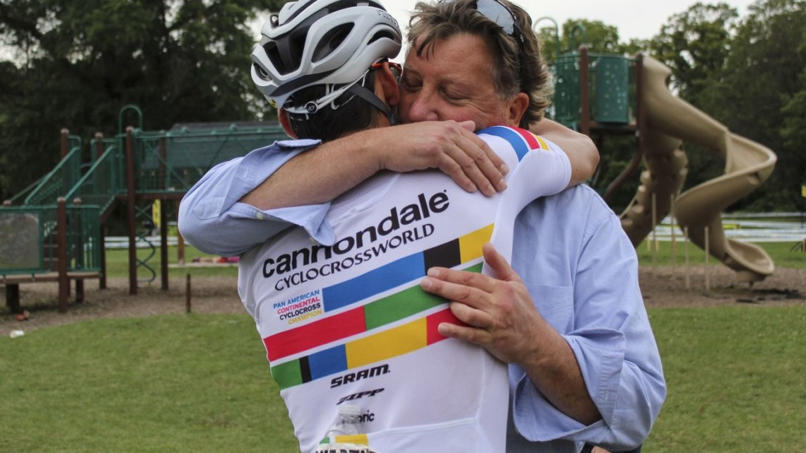 Curtis White and his dad embrace after White's dramatic win. 2019 Rochester Cyclocross Day 2. © Z. Schuster / Cyclocross Magazine