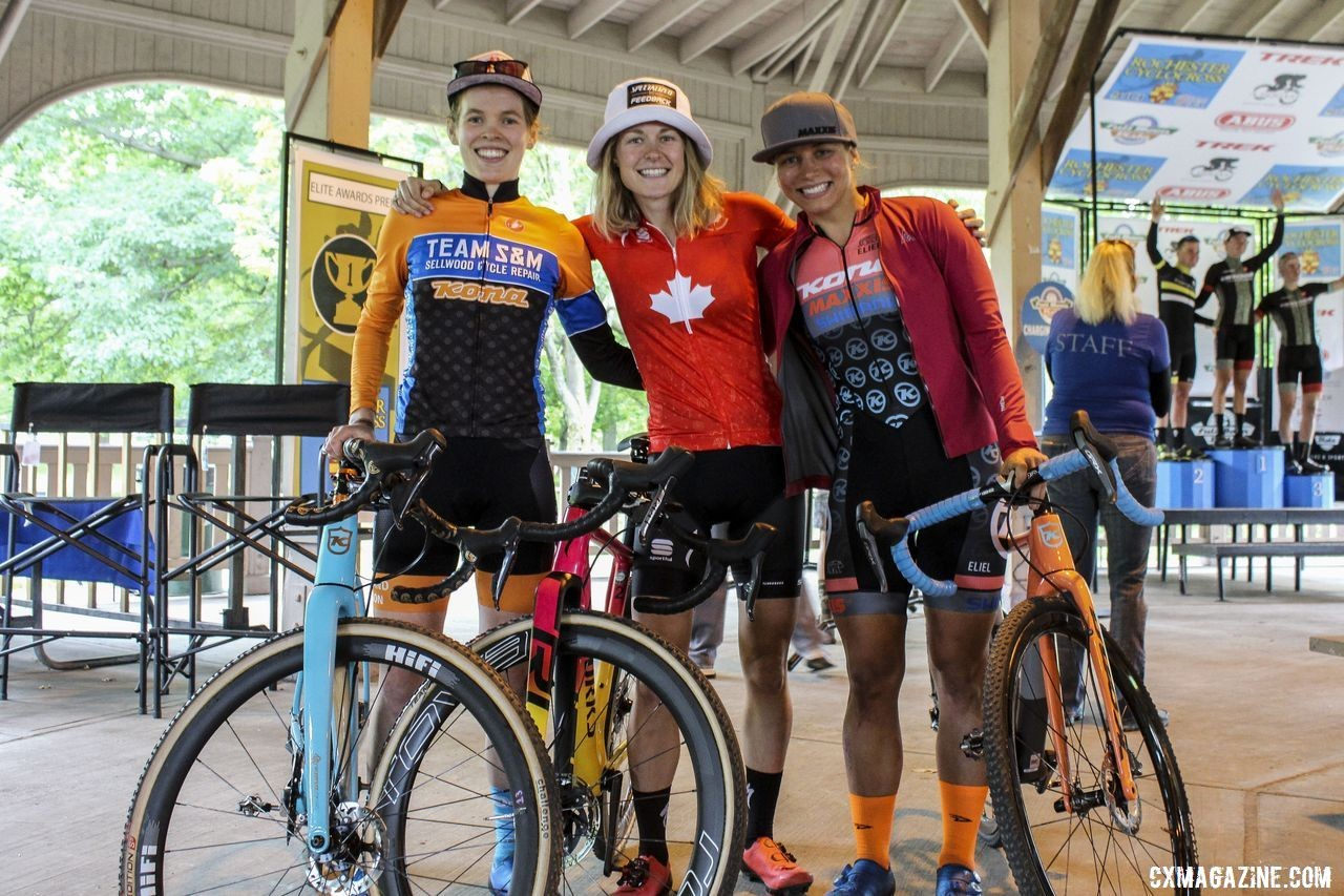 Maghalie Rochette, Clara Honsinger and Rebecca Fahringer made up an impromptu podium on Sunday. 2019 Rochester Cyclocross Day 2. © Z. Schuster / Cyclocross Magazine