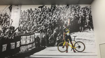 Robert Clarks iconic image graces cyclocross enthusiast Chad Brown's office wall.