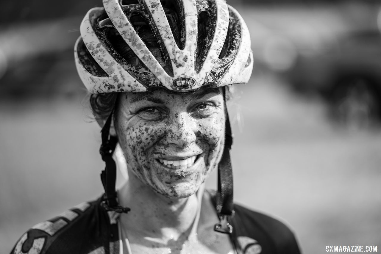 A muddy but satisfied Caroline Nolan on Sunday. 2019 Jingle Cross Weekend. © Drew Coleman
