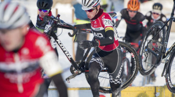 Calder Wood racing to 5th at the 2017 Cyclocross National Championships. © A. Yee / Cyclocross Magazine