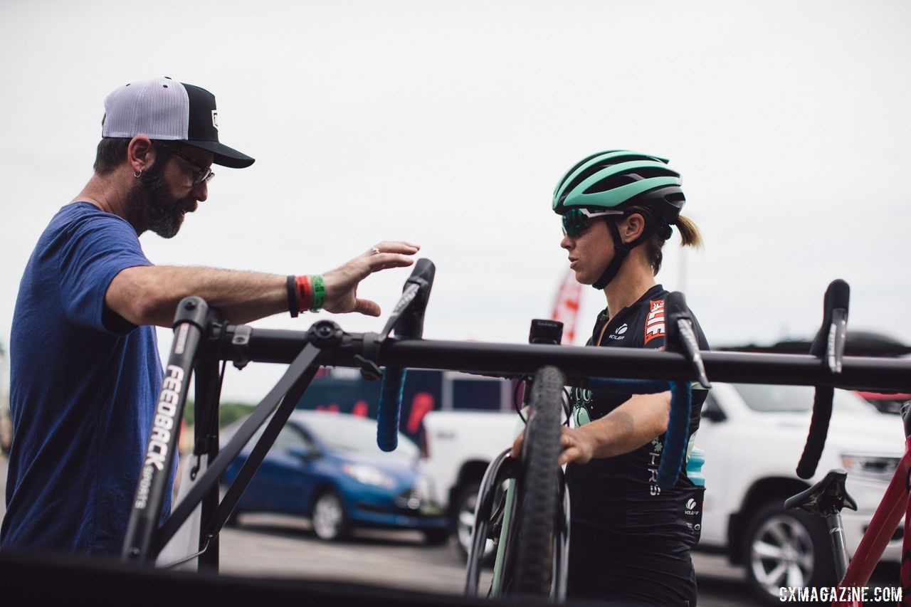 Nolan got an assist from her friend and mechanic Tim. Caroline Nolan Rider Diary, 2019 Jingle Cross World Cup. © Balint Hamvas / Cyclephotos