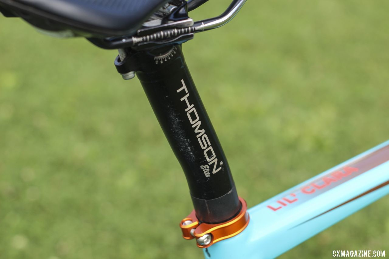 Honsinger used a Thomson Elite alloy seatpost to hold her saddle. Clara Honsinger's 2019/20 Kona Major Jake. © Z. Schuster / Cyclocross Magazine
