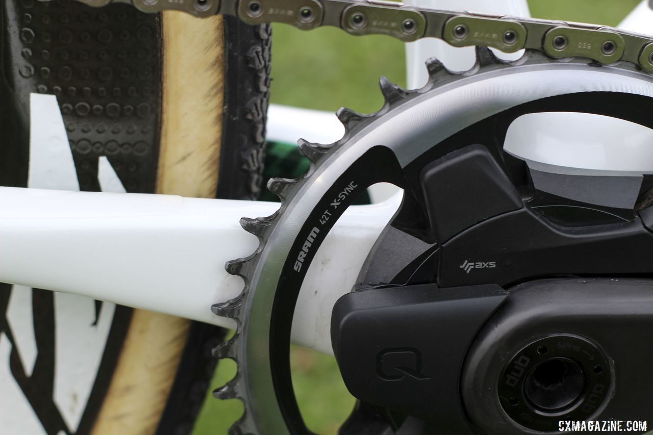 White used a 42 X-Sync front chain ring from the SRAM Force 1 series. Curtis White's 2019/20 Cannondale SuperX Cyclocross Bike. © Z. Schuster / Cyclocross Magazine