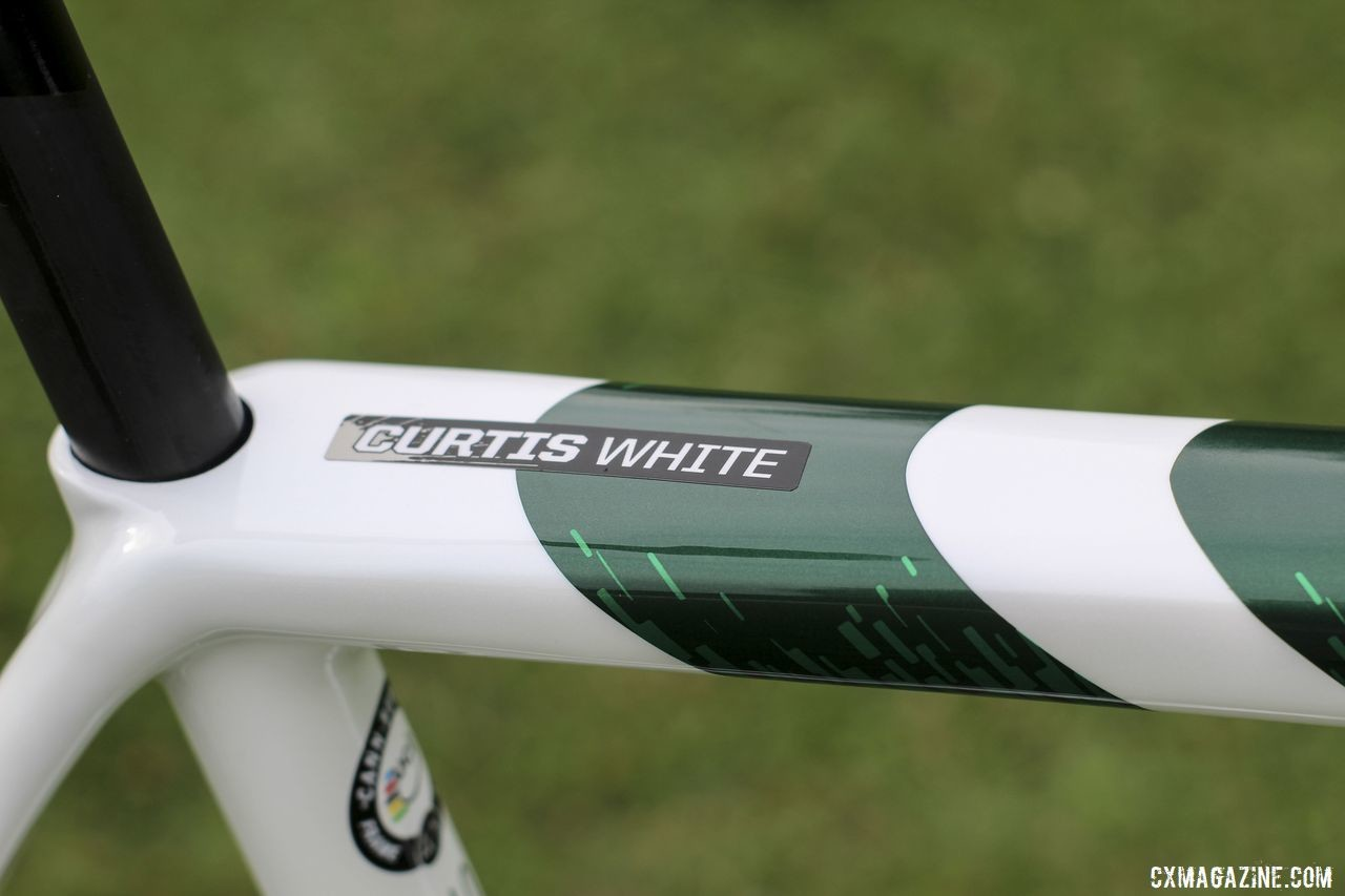 Each riders' bikes are labeled, but it's doubtful White's bike will be confused with his teammates'. Curtis White's 2019/20 Cannondale SuperX Cyclocross Bike. © Z. Schuster / Cyclocross Magazine