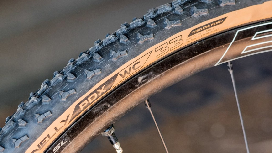 Donnelly's new handmade 33mm PDX WC tubeless cyclocross clincher is aimed at UCI-tire-width-restricted cyclocross racers. © C. Lee / Cyclocross Magazine