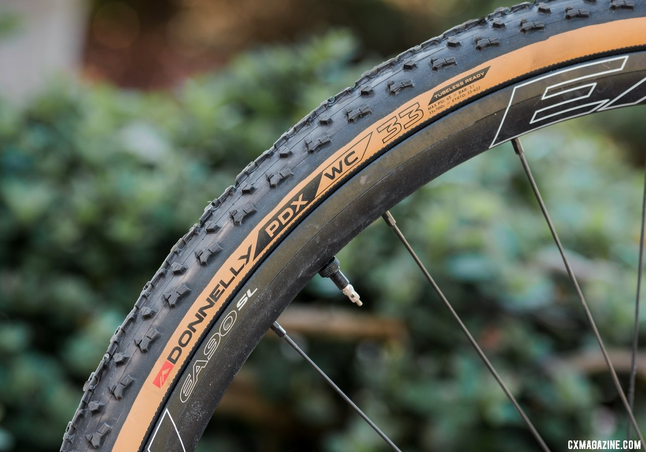 Donnelly's new handmade PDX WC tubeless cyclocross clincher. © C. Lee / Cyclocross Magazine