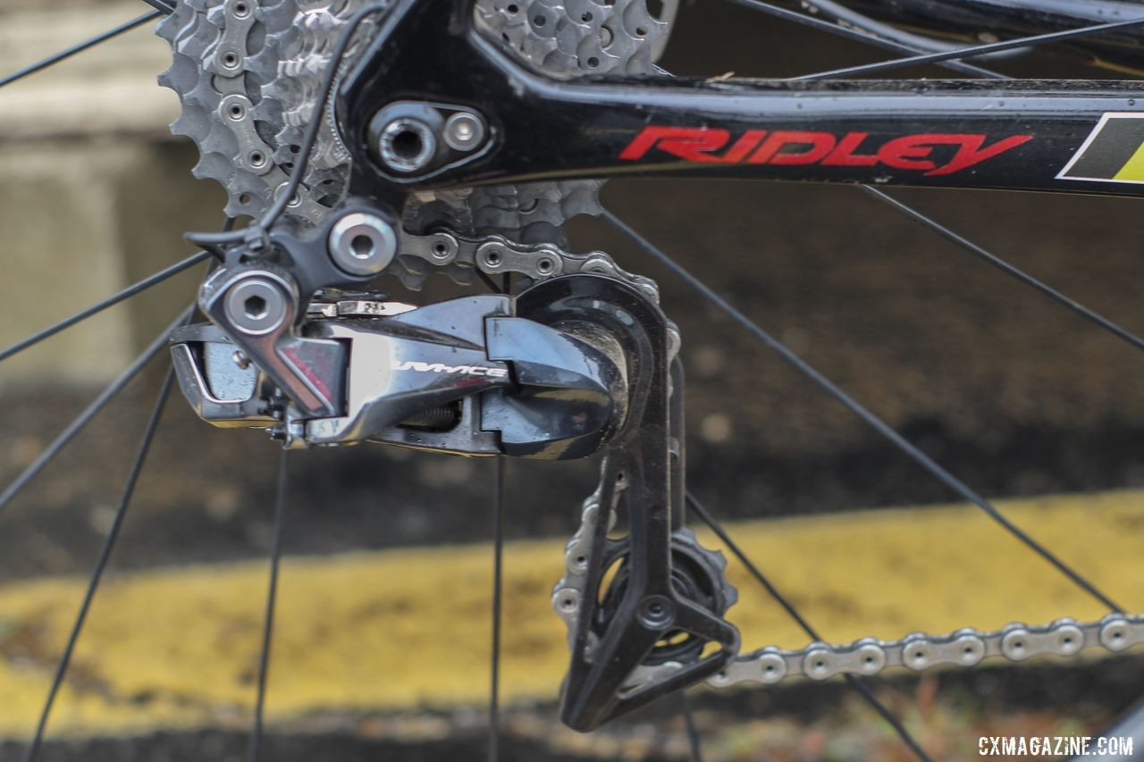 Like most Euros, Iserbyt opted for the clutch-less Dura-Ace R9150 rear derailleur, even though he ran a 1x setup. Eli Iserbyt's 2019 World Cup Waterloo Ridley X-Night SL Disc. © Z. Schuster / Cyclocross Magazine
