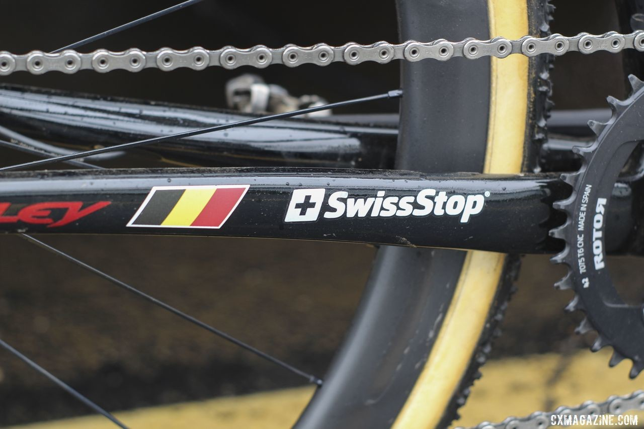 SwissStop is a sponsor, and well, Iserbyt is from Belgium. Eli Iserbyt's 2019 World Cup Waterloo Ridley X-Night SL Disc. © Z. Schuster / Cyclocross Magazine