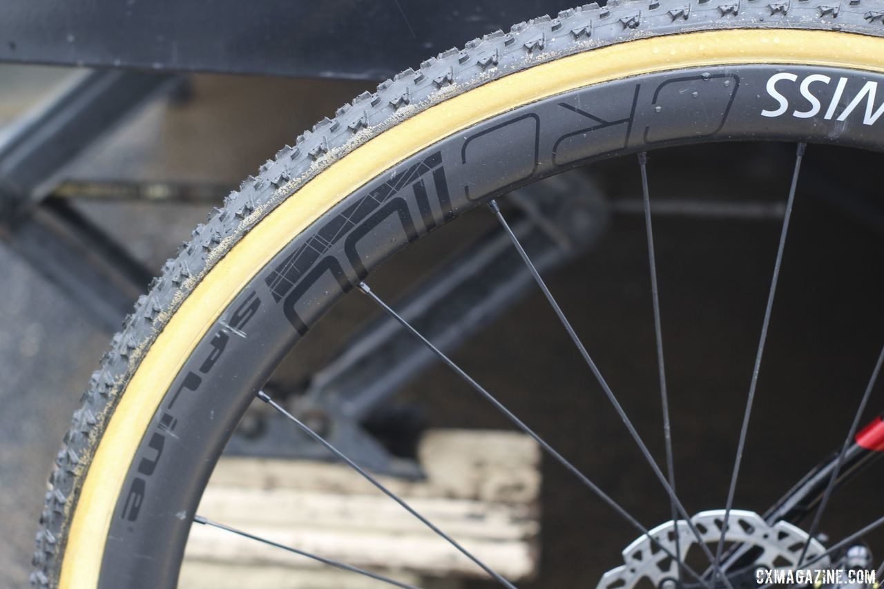 Iserbyt rolls on DT Swiss' lightweight CRC 1100 Spline carbon tubulars. Eli Iserbyt's 2019 World Cup Waterloo Ridley X-Night SL Disc. © Z. Schuster / Cyclocross Magazine