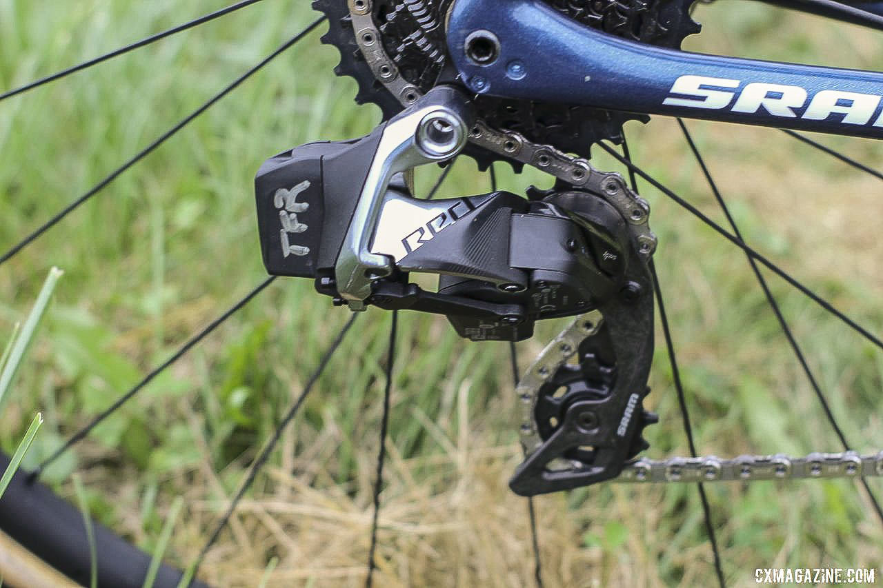 Neff ran the new SRAM Red eTap AXS rear derailleur with her 1x setup. Jolanda Neff's 2019 World Cup Waterloo Trek Boone. © Z. Schuster / Cyclocross Magazine