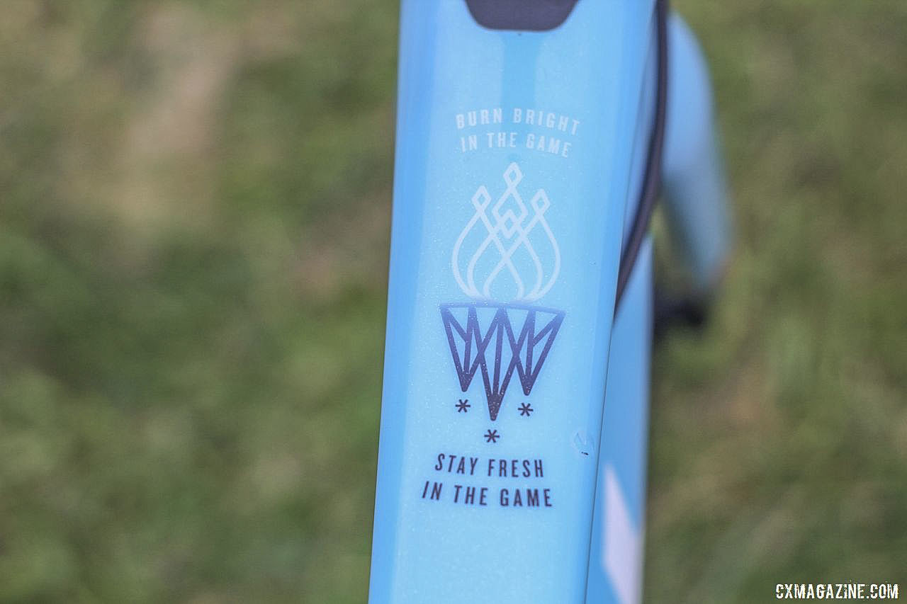 Each rider on the TFR team has a personalized top tube. Jolanda Neff's 2019 World Cup Waterloo Trek Boone. © Z. Schuster / Cyclocross Magazine