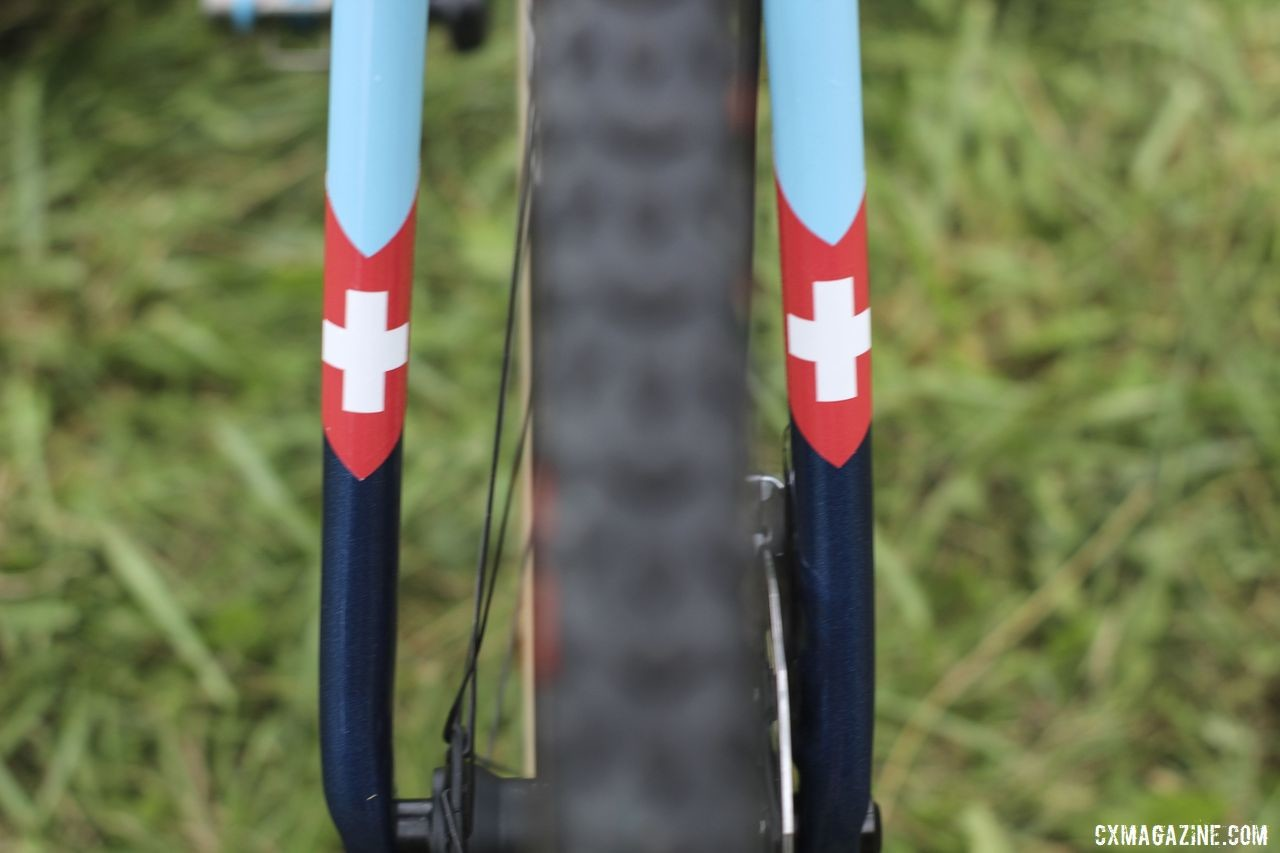 Swiss crosses adorn Neff's bike, including the fork. Jolanda Neff's 2019 World Cup Waterloo Trek Boone. © Z. Schuster / Cyclocross Magazine