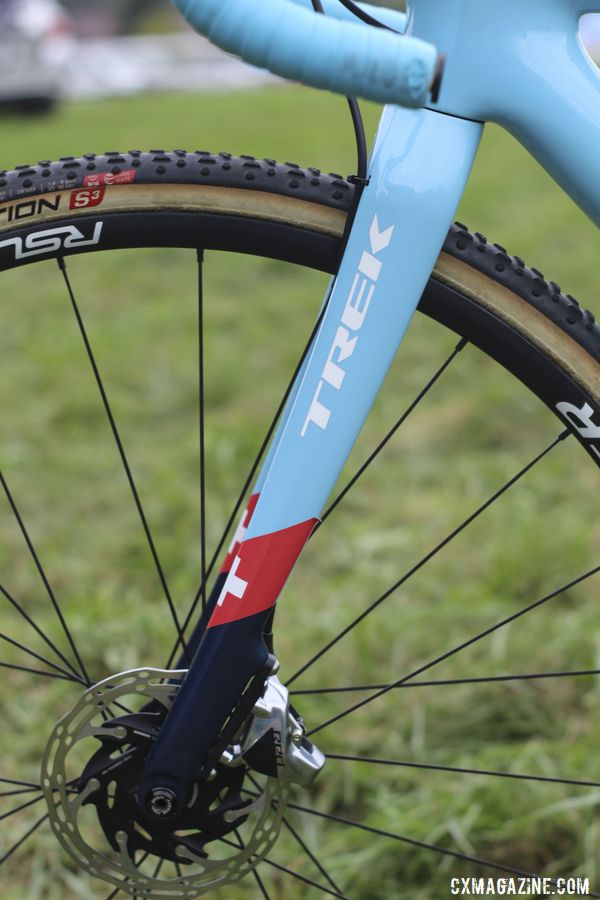 The Boone has a carbon fork made with Trek's OCLV 600 series carbon. Jolanda Neff's 2019 World Cup Waterloo Trek Boone. © Z. Schuster / Cyclocross Magazine