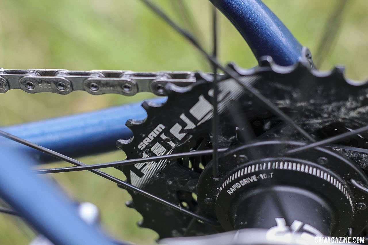 A Force cassette has been a popular choice among riders using the new Red eTap AXS groupset. Jolanda Neff's 2019 World Cup Waterloo Trek Boone. © Z. Schuster / Cyclocross Magazine