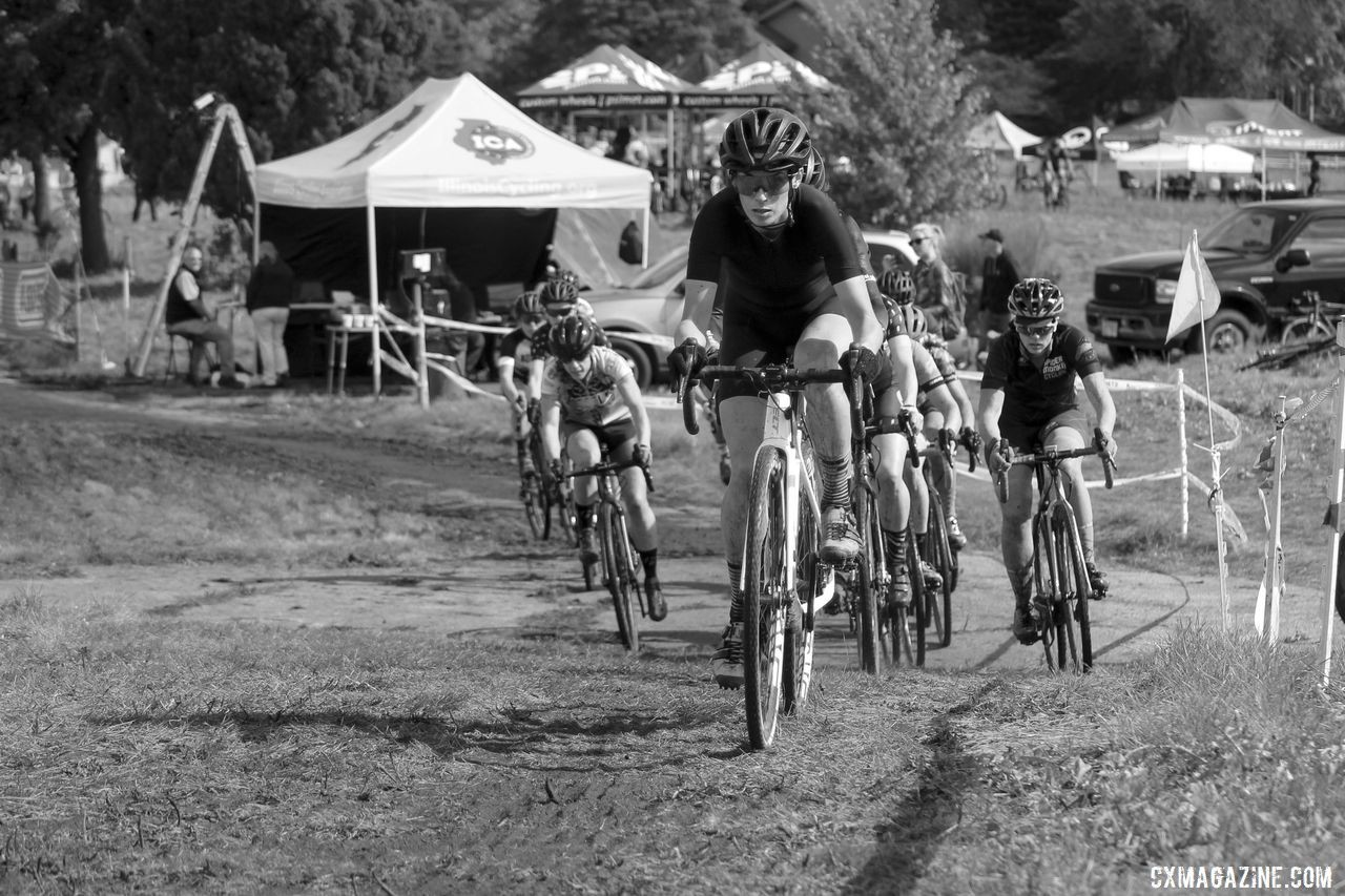 Lauren Harkness leads out the Elite Women's holeshot. 2019 CCC Hopkins Park CX at Indian Lakes. © Z. Schuster / Cyclocross Magazine