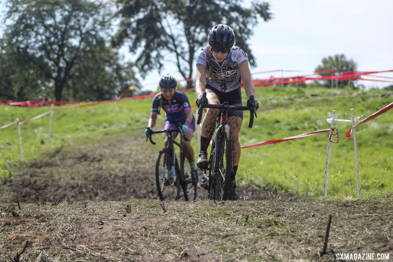 Amy Schultz and Mary Randall battle for fifth place. 2019 CCC Hopkins Park CX at Indian Lakes. © Z. Schuster / Cyclocross Magazine