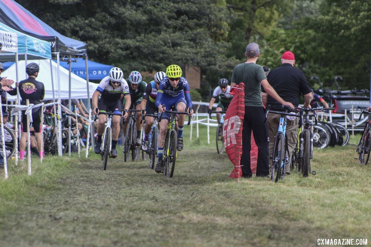 Young Peter Swinand leads the chase at the end of Lap 1. 2019 CCC Hopkins Park CX at Indian Lakes. © Z. Schuster / Cyclocross Magazine