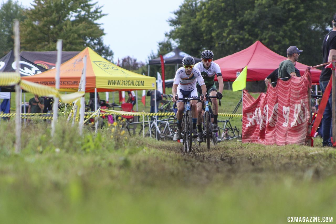 Isaac Neff joined Tim Strelecki off the front in Lap 2. 2019 CCC Hopkins Park CX at Indian Lakes. © Z. Schuster / Cyclocross Magazine
