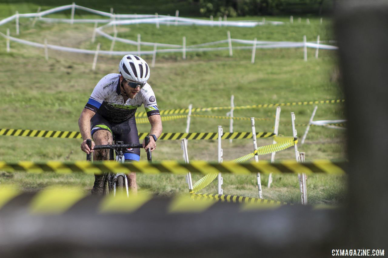 Matt Riley broke from the chase and finished a solo second. 2019 CCC Hopkins Park CX at Indian Lakes. © Z. Schuster / Cyclocross Magazine