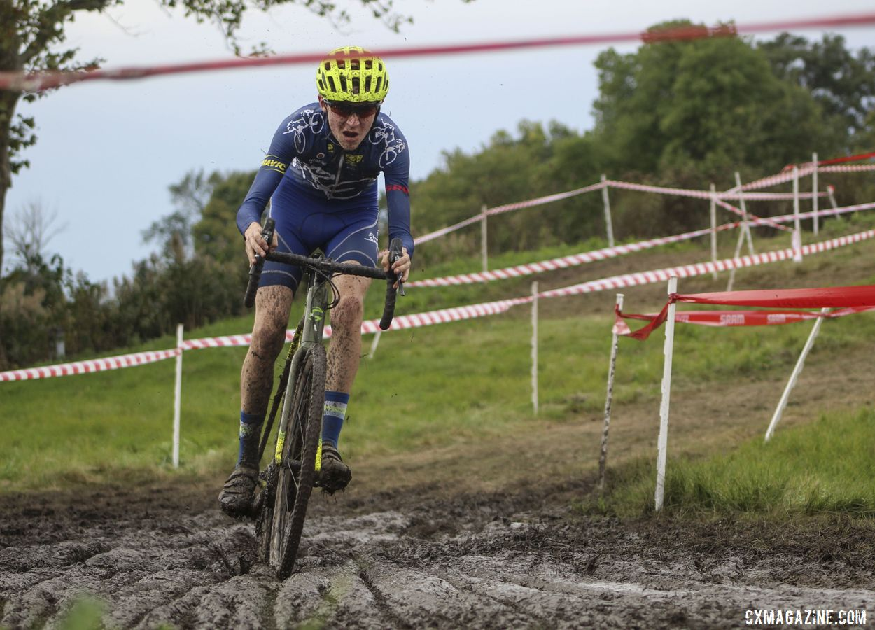Peter Swinand navigates one of the muddy sections on the course. 2019 CCC Hopkins Park CX at Indian Lakes. © Z. Schuster / Cyclocross Magazine