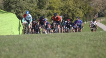 Rory Jack and Josh Fitzgerald lead the field out up the uphill holeshot. 2019 Sunrise Park Cyclocross, Chicago Cross Cup. © Z. Schuster / Cyclocross Magazine