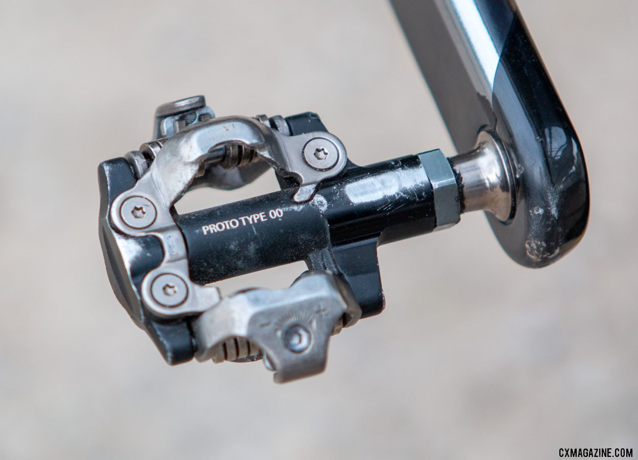 When you are U23 World Champ, you get the special parts. Shimano prototype pedals on Inge van der Heijden's Liv cyclocross bike from Jingle Cross, despite a SRAM drivetrain. © A. Yee / Cyclocross Magazine