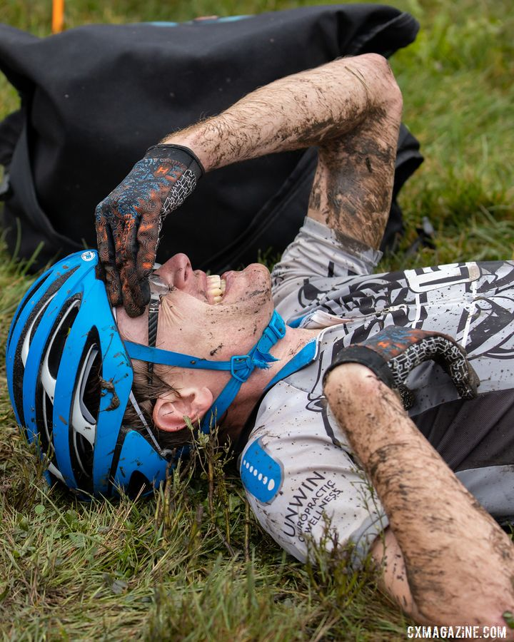 I could not  help but post-race collapse after the CCC Indian Lakes race. © SnowyMountain Photography