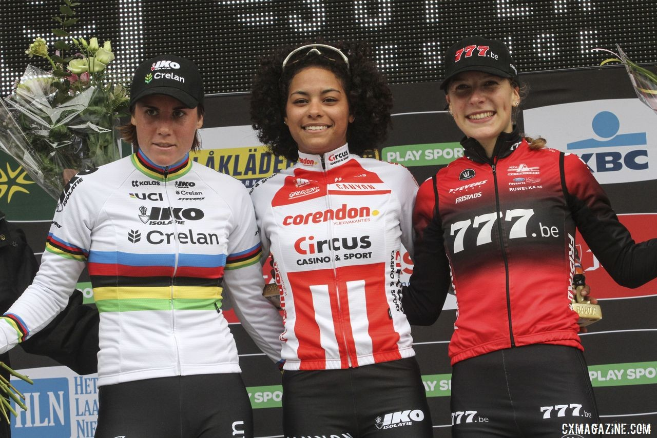 Elite Women's podium: Ceylin del Carmen Alvarado, Sanne Cant and Yara Kastelijn. 2019 Superprestige Gieten. © B. Hazen / Cyclocross Magazine