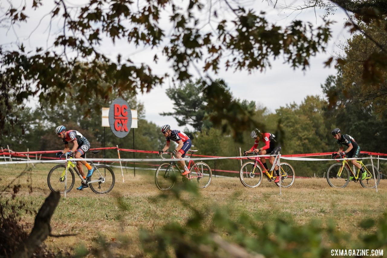 Kerry Werner leads the lead train in the bunched-up Saturday racing. 2019 DCCX Day 1. © Bruce Buckley
