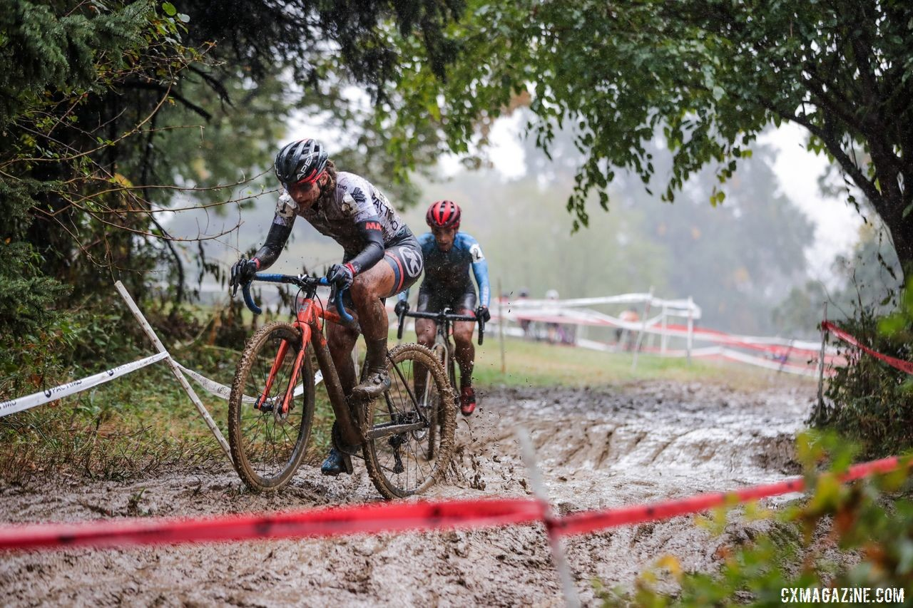 Becca Fahringer and Courtenay McFadden battle in the Day 2 mud. 2019 DCCX Day 2. © Bruce Buckley
