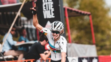 Maghalie Rochette took the Day 1 win at FayetteCross. © Kai Caddy