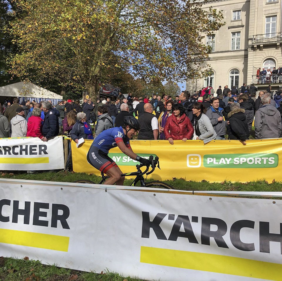 Corey Coogan Cisek races at Superprestige Gavere. photo: courtesy